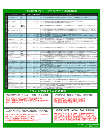 12月23日グループエクササイズ内容解説