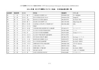 2014 年度 旧 ICT 国際セラピスト協会 日本協会員名簿一覧