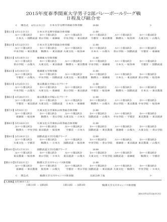 2015年度春季関東大学男子2部バレーボールリーグ戦 日程及び組合せ