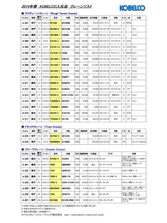 2014年春 KOBELCO入札会 クレーンリスト