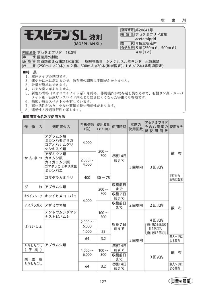 Sl モスピラン 製品情報…モスピランSL液剤