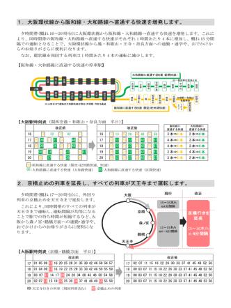 1.大阪環状線から阪和線・大和路線へ直通する快速を増発します。 2