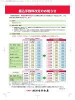 振込手数料改定のお知らせ/主な手数料一覧/ATM利用