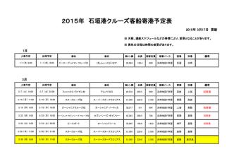 2015年石垣港クルーズ船入港予定一覧表;pdf