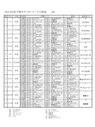 2014年度下関市サッカーリーグ日程表