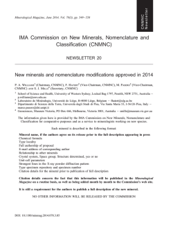 IMA Commission on New Minerals, Nomenclature and Classification