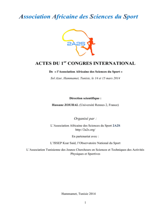 congres international - Association Africaine des Sciences du Sport