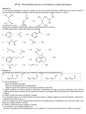 ap 21 – transformation de la matiere en chimie - cours