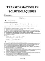 TRANSFORMATIONS EN SOLUTION AQUEUSE - Chimie-pcsi