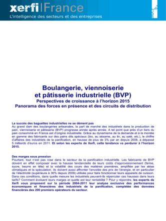 Boulangerie, viennoiserie et patisserie industrielle (BVP)