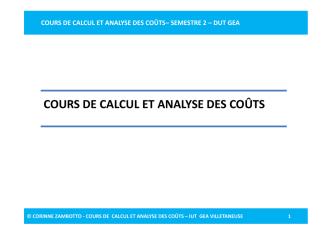 cours de calcul et analyse des coûts– semestre 2 – dut gea