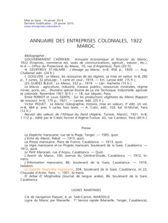 Annuaire des entreprises coloniales 1922-Maroc