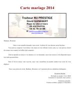 Carte mariage 2014 - Traiteur MJ Prestige