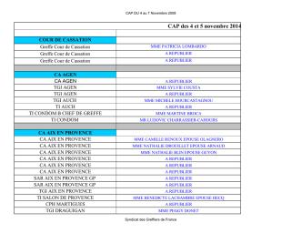 CAP des 4 et 5 novembre 2014