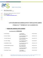 liste des medecins generalistes et specialistes agrees etablie du 1