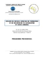 le programme prévisionnel - Université Cheikh Anta Diop