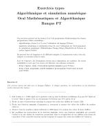 Exercices types Algorithmique et simulation numérique