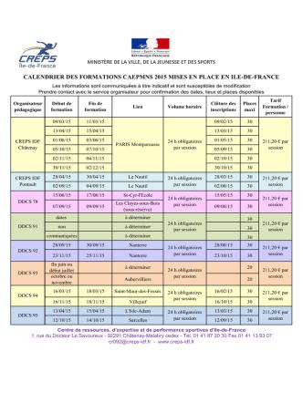 CALENDRIER DES FORMATIONS CAEPMNS 2015 MISES