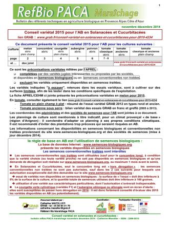 1 conseil variétal pour 2015 en maraîchage biologique