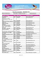 Liste des exposants – Exhibitors list