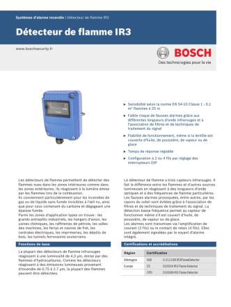 Data Sheet (IR3 Flame Detector)