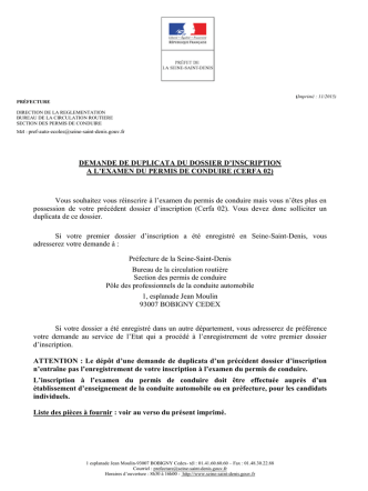 Demande duplicata dossier auto-école - format : PDF