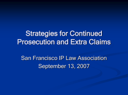 Strategies for Continued Prosecution and Extra Claims