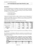 TD N°4 METHODE DES COUTS PAR ACTIVITES ou ABC