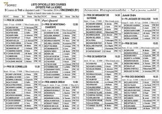 9 Courses de Trot se disputant Lundi 17 Novembre