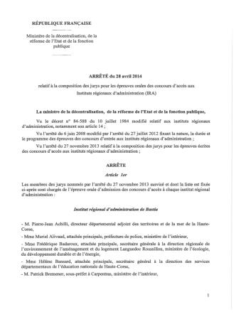 Composition du jury pour les épreuves orales