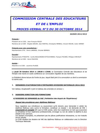 30 Octobre 2014 - Extranet FFVB