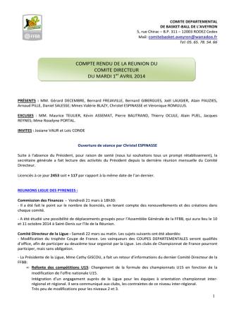 Compte-rendu de la Réunion du Comité du Mardi 1er avril 2014