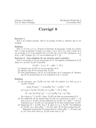 Corrigé 8 - Alg Geo Epfl