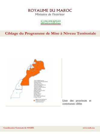 Ciblage du Programme de Mise à Niveau Territoriale