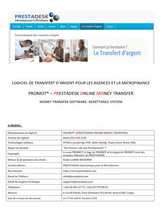 Brochure Logiciel Transfert Argent pour agences et