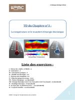 La température et le transfert d`énergie thermique Liste des exercices