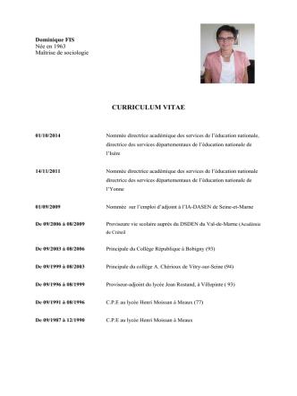 Consulter le curriculum vitae de Madame Dominique Fis Inspectrice