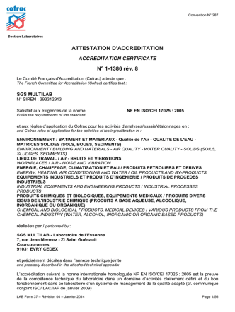 ATTESTATION D`ACCREDITATION N° 1-1386 rév. 8
