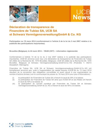 Déclaration de transparence de Financière de Tubize SA, UCB SA