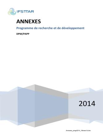 Annexes du programme de recherche 2014