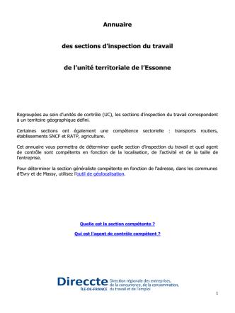 Annuaire des sections d`inspection du travail de l`Essonne