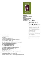tarif des vins au caveau