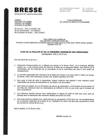 Avis de faillite - Cellunivers Communication inc.