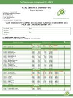 Tarif semences biologiques 2014/2015