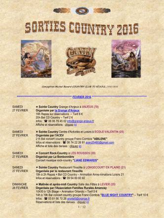 01 Agenda Sorties Country 2016 - 23 février 2016