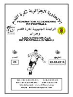 a » « u.20 » - Ligue Régionale de Football d`Oran