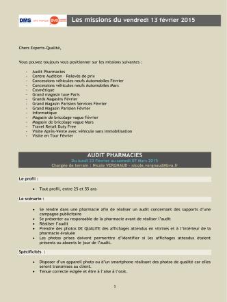 AUDIT PHARMACIES Les missions du vendredi 13 février 2015