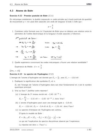 4.3 Atome de Bohr