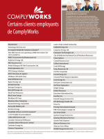 Certains clients employants de ComplyWorks