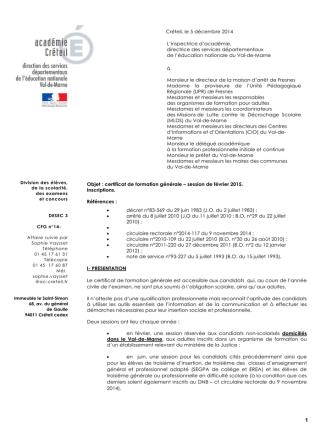 Circulaire départementale CFG 2014-2015